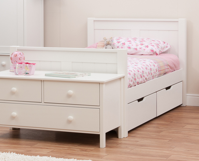 Classic single bed with underbed drawers by stompa - Kids bed with drawers underneath ...