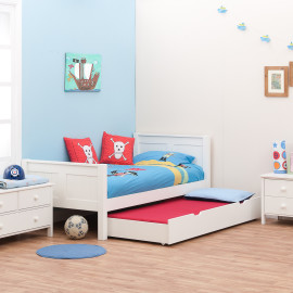 Classic White Single Bed for Kids, by Stompa with Underbed Trundle