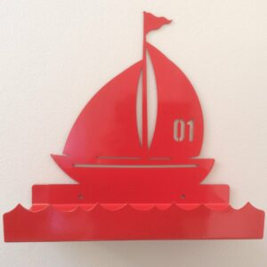 Sailing Boat Metal Wall Shelf - Red