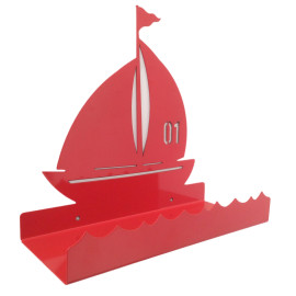 Metal-Wall-Display-Shelf-Sailing-Boat-for-Boys-Kids-Bedroom-Storage-Red
