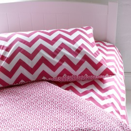 Chevron and Roundel Reversible Duvet Set for Children Bedroom Pink
