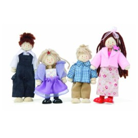 Doll Family Budkins Dolls House Wooden Toys for Kids Pretend Play