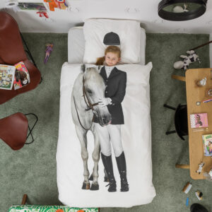 Equestrian Duvet Set - White (Single)