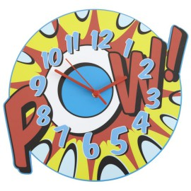 POW Wall Clock for Kids Childrens Bedroom or Playroom Tell the Time
