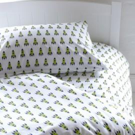 Rocket Ship Duvet Set for Boys Bedding Bedrooms Pure Cotton