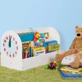 Tidy Books Box White for Storage Kids Clock tell the time reading Children