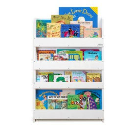 Tidy Books Display Bookcase for Kids Storage White Storage for Children Reading Solid Lime Wood