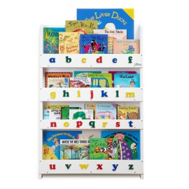 Tidy Books Display Bookcase for Kids Storage White lower case alphabet letters design Storage for Children Reading Solid Lime Wood