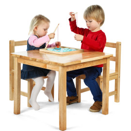 Classic Solid Wooden Table & 2 Chairs Set Natural for Kids Playroom Tidlo by John Crane
