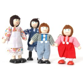 Farm Family Wooden Dolls Set Pretend Play for Kids