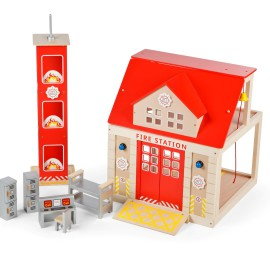 Fire Engine Set for Boys Role Pretend Play Wooden Tidlo by John Crane