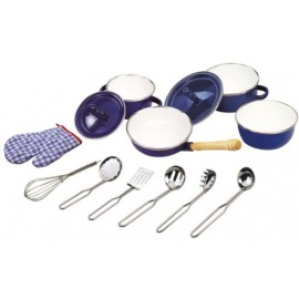 Kitchenware Set Blue Enamel Coated Pretend Play Toys for Kids Tidlo by John Crane