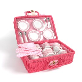 Picnic Tea Set in Basket for Kids Role Play Toys by Tidlo John Crane
