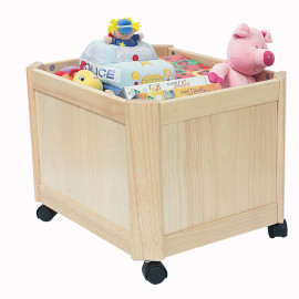 Wooden Toy Box on Castors Natural by Pintoy John Crane Storage for Kids