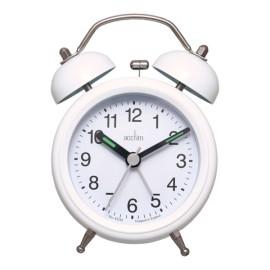 Bell Alarm Clock White for Kids Wake Up Bedside