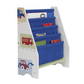 Boys Trucks 'n' Tractors Sling Bookcase for Children Reading Storage Playroom Toddlers
