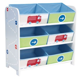 Boys Trucks n' Tractors 6 Bin Storage Unit Furniture Toddler Boys for Kids