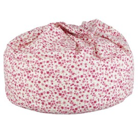 Ditzy Floral Beanbag Pink on White Seating for Kids Playroom Bedroom