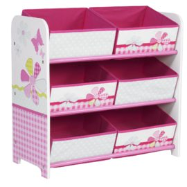 Girls'-Patchwork-6-Bin-Storage-Unit-for-Kids-Toys-Furniture-Girls-Toddlers-Tidy-Organiser-Bin-mdf-Nursery-Pink-Butterfly-Flowers