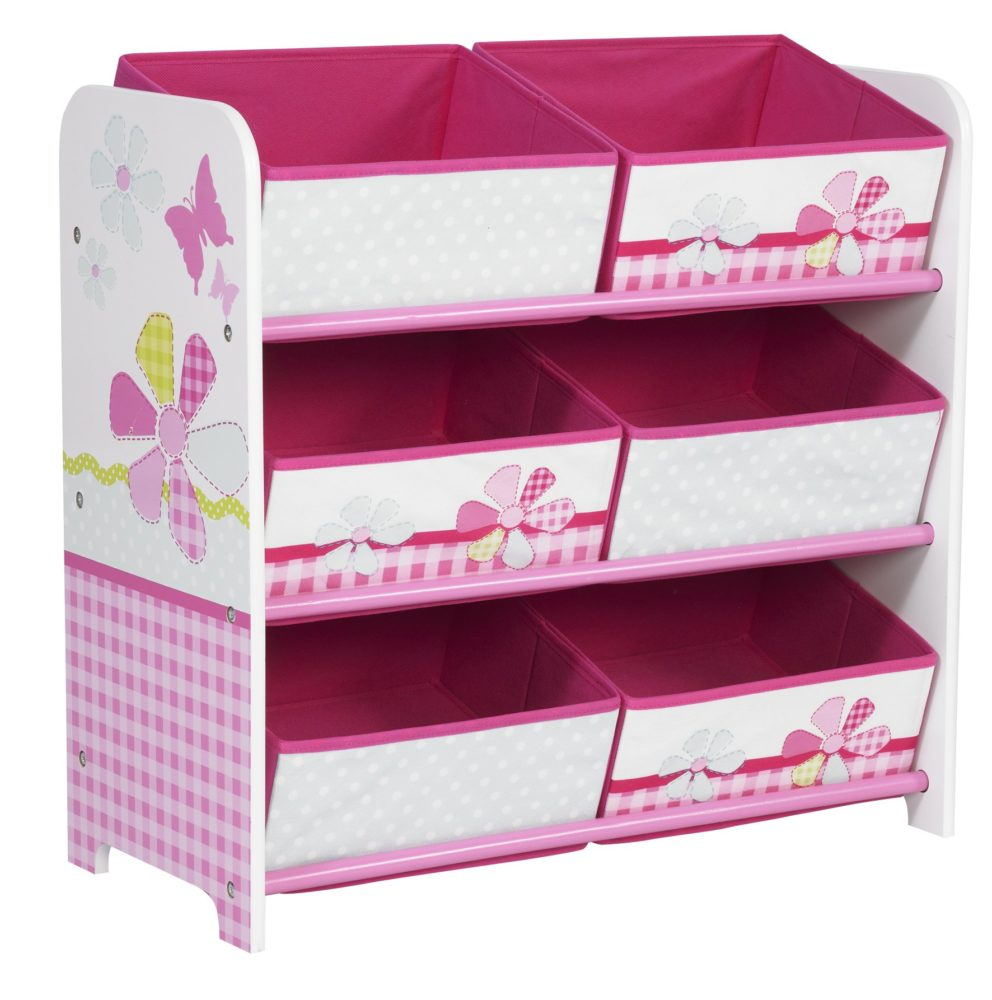 S Patchwork 6 Bin Storage Unit For Kids