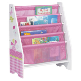 Girls Patchwork Sling Bookcase Bin Storage Unit for Kids Toys Furniture Girls Toddlers Tidy Organiser Bin MDF Books Nursery Pink Butterfly Flowers