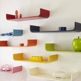 Tessera Curved Floating Wall Shelf for Kids Storage Bookshelf Flexible Shelving Various Colours