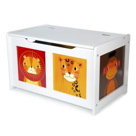 White Jungle Animal Toy Chest Storage for Kids by Tidlo John Crane Wooden