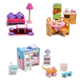 Deluxe Starter Furniture Set Le Toy Van Wooden Pretend Play Dolls House for Kids