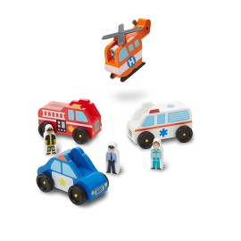 Emergency Vehicles Set Wooden Pretend Play Toys Kids Boys & Girls Melissa & Doug