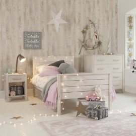 Woodland Single Bed White Wash Bedroom for Children Girls and Boys Solid Wood Ash