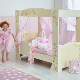 Rose Print Four Poster Toddler Starter Bed for little girls bedroom Cream
