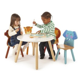 Tidlo Safari Jungle Animal Table and Four Chairs Set Playtables Playroom Solid Wood for Children