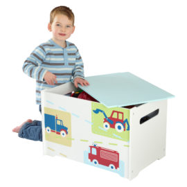 Vehicles Toy Box Kids Children Boys, Storage Chest, Bedroom Boxes Organiser Toddler Playroom, Wooden Unit Bin Tidy