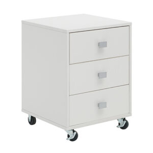 3 Drawer Unit on Castors, Solid Wood - White by Lifetime Kidsrooms