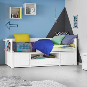 Cabin Bed with Cupboards, Solid Wood - Grey Wash Doors/Drawer by Lifetime Kidsrooms