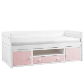 Cabin Bed with Cupboards, Solid Wood - Pink by Lifetime Kidsrooms for Children Storage