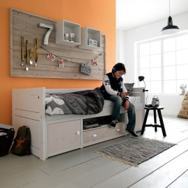 Cabin Bed with Cupboards, Solid Wood - White Doors and Drawer by Lifetime Kidsrooms Bedrooms