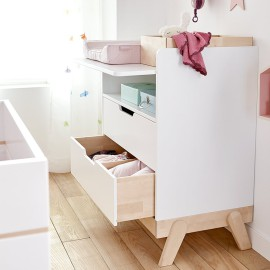 Changing Table and Desk Combo - Birch and White by Lifetime Kidsrooms Solid Wood