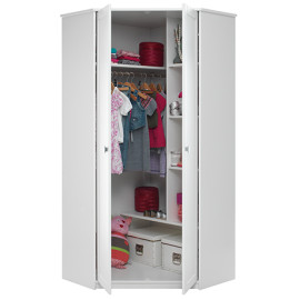 Corner Wardrobe with Hinged Doors, Solid Wood - White  by Lifetime Kidsrooms 565-10-2
