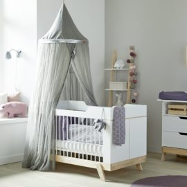 Cot Junior Bed for Baby Nursery with Canopy Solid Wood Birch White Converter