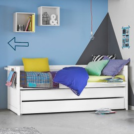 Day Bed with Pull-out Bed + Drawer, Solid Wood - White by Lifetime Kidsrooms For sleepovers Children Kids
