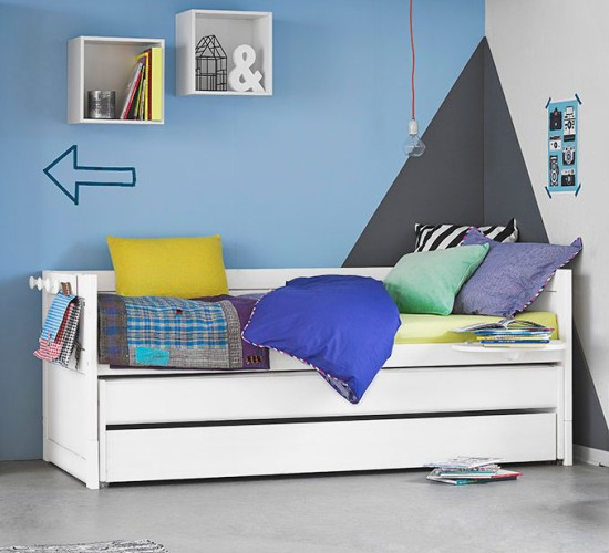 Day Bed with Pull-out Bed + Drawer, Solid Wood - White by Lifetime Kidsrooms