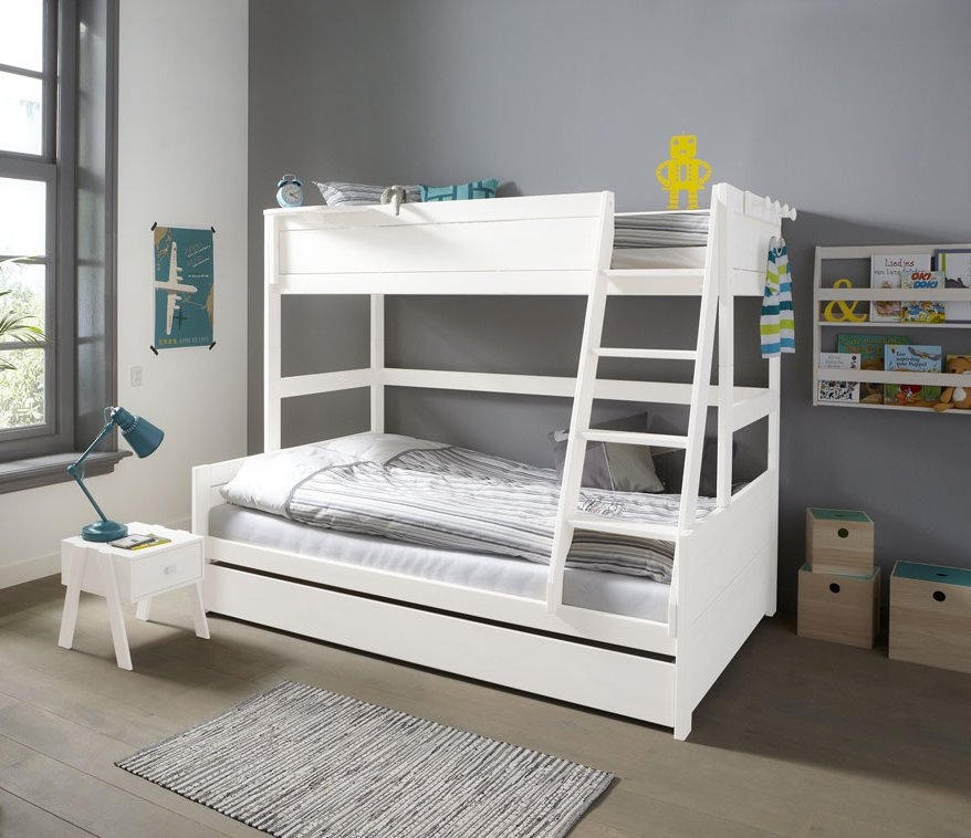 Family Double Bunk Bed Solid Wood White For Kids In S A
