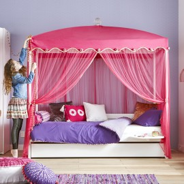 Four-Poster Bed with 1001 Nights Canopy, White by Lifetime Kidsrooms Pink Cotton Canopy for Teenage Girls Bedroom