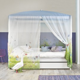 Four-Poster Bed with Butterfly Love Canopy - White by Lifetime Kidsrooms for Girls Canopy Bed Children