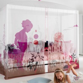 Four-Poster Bed with Wonderland Canopy - White by Lifetime Kidsrooms for Children Kids Girls Bedroom