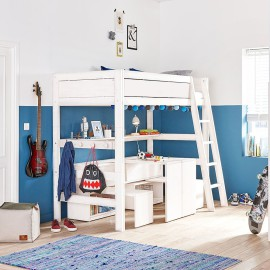 High Sleeper Bed with Play and Store Cupboard Unit, Solid Wood - White  by Lifetime Kidsrooms for Children Bedrooms