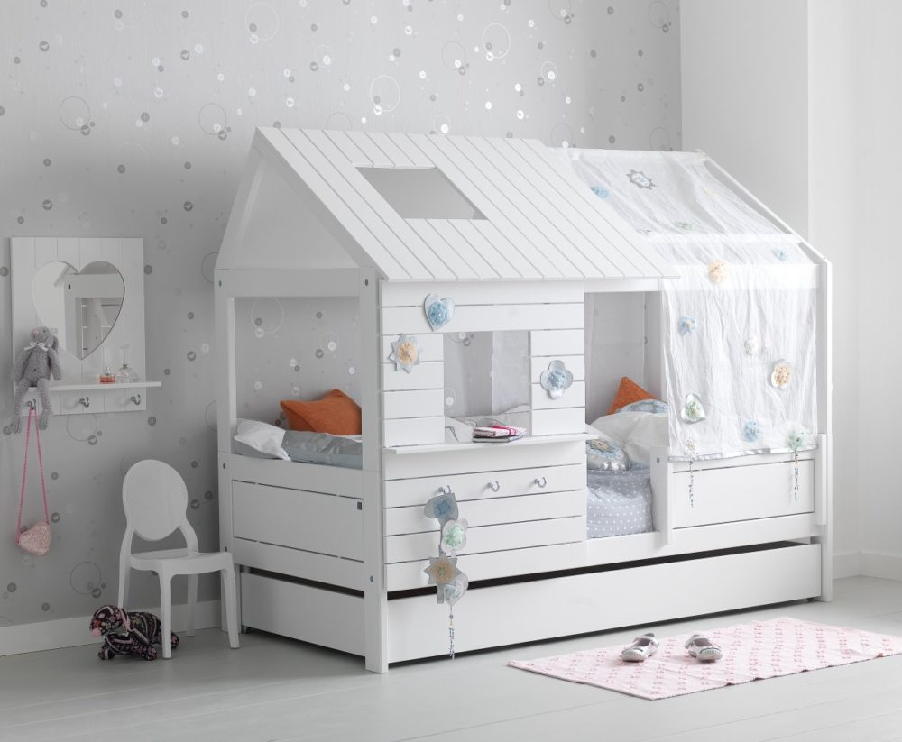 hut bed solid wood white for children in s a. Black Bedroom Furniture Sets. Home Design Ideas