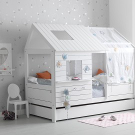 Hut Bed, Solid Wood - White  by Lifetime Kidsrooms for Children Silversparkle Girls Bedroom