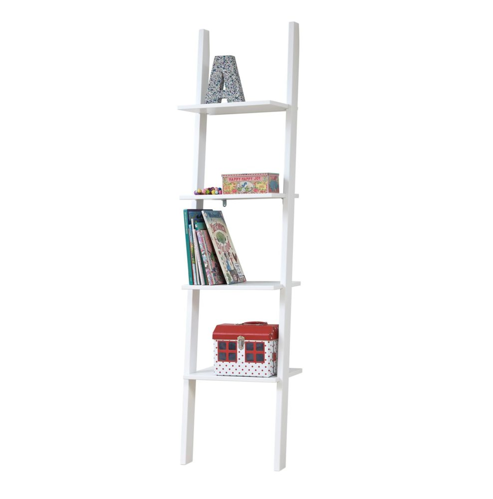 Leaning Bookcase With 4 Shelves Solid Wood